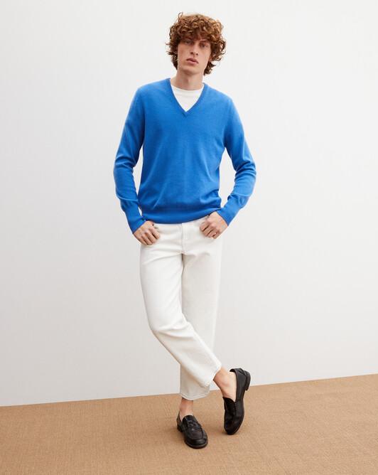 Pull V classique - Bleu de france