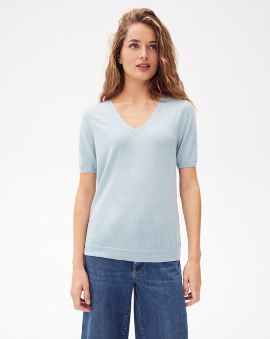Contemporary extrafine short-sleeved V-neck - Jean