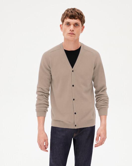 Offset shoulders fitted cardigan - Jupiter beige