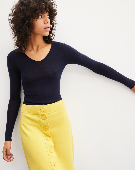 Pull V ultrafin sans coutures - Marine
