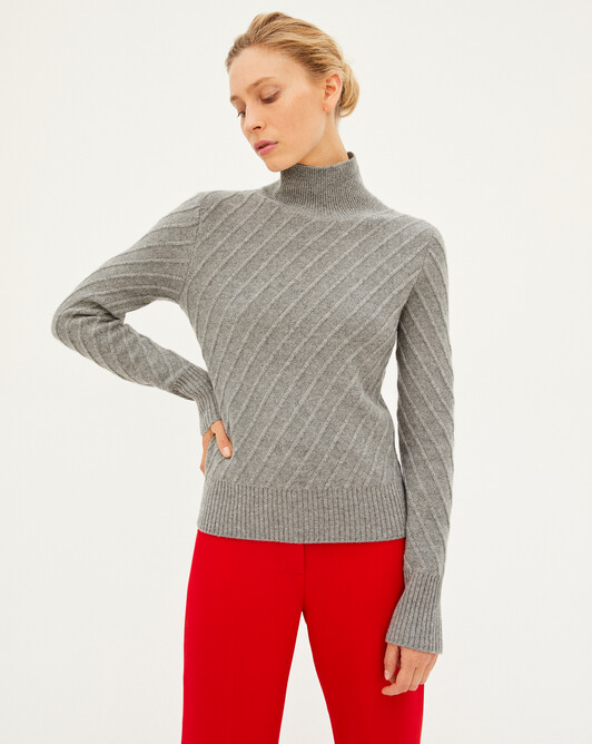 Diagonal-rib roll-neck sweater sweater - Flannel grey