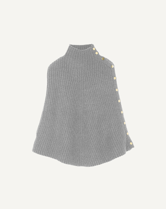 Ribbed poncho - Flannel grey