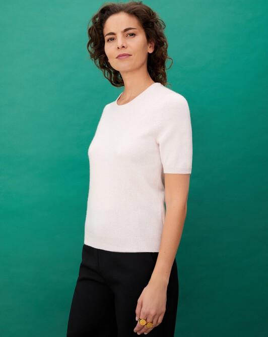 Classic short-sleeved crew neck pullover - Soft pink melange