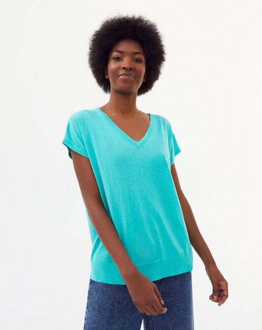 Oversize v-neck sweater - Palm beach