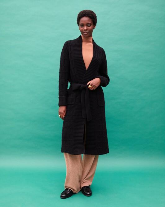 Fancy cable-stitch shawl collar coat - Black