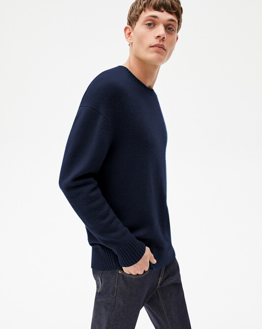 4-ply loose crew-neck sweater - Navy blue