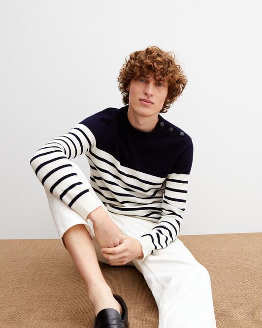 Button-shoulder striped crew-neck pullover - Navy blue/autumn white