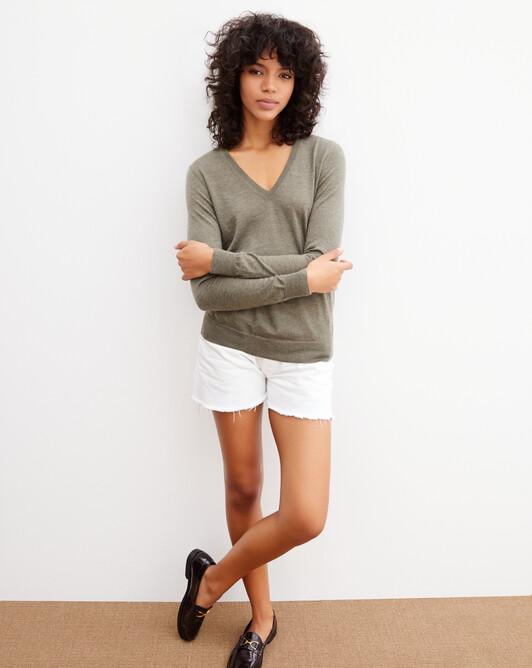 Extrafine V-neck pullover - Khaki