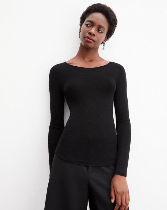 Extrafine crew neck seamless - Black