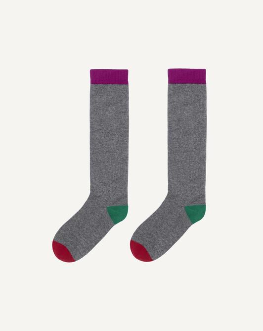 Chaussettes hautes moulinées tricolores - Flanelle/fuchsia/peppermint