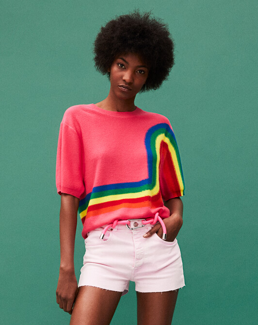 Short-sleeved rainbow intarsia crew-neck sweater - Pitaya
