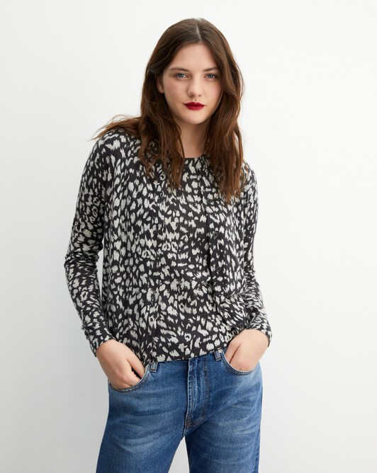 Leopard print cardigan - Charcoal grey