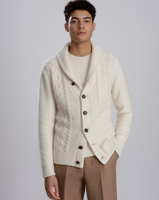 Double shawl collar jacket - Ecru