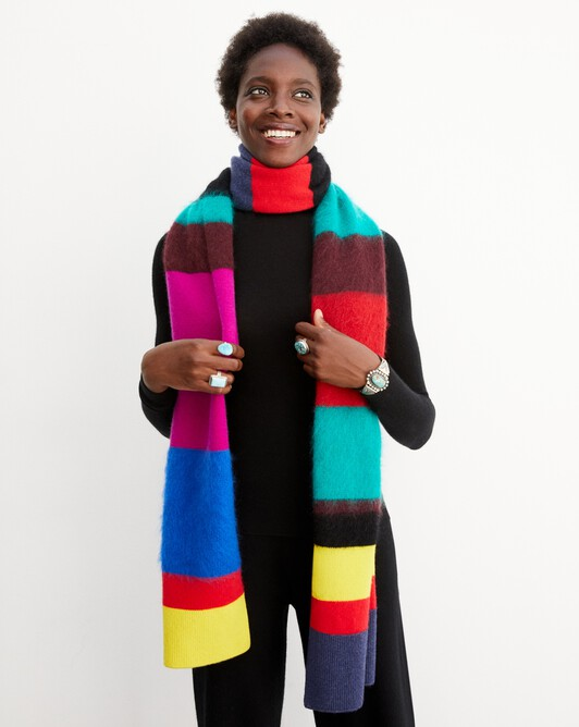 Brushed striped scarf 220 cm x 40 cm - Multicoloured