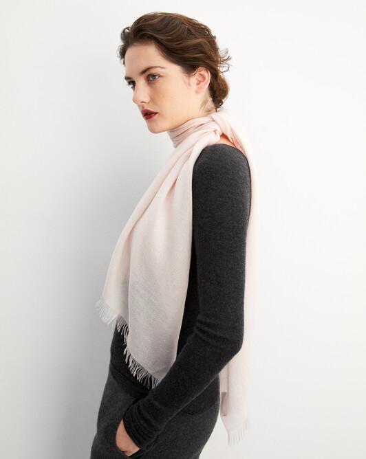 Cashmere voile scarf 150 cm x 55 cm - Soft pink melange