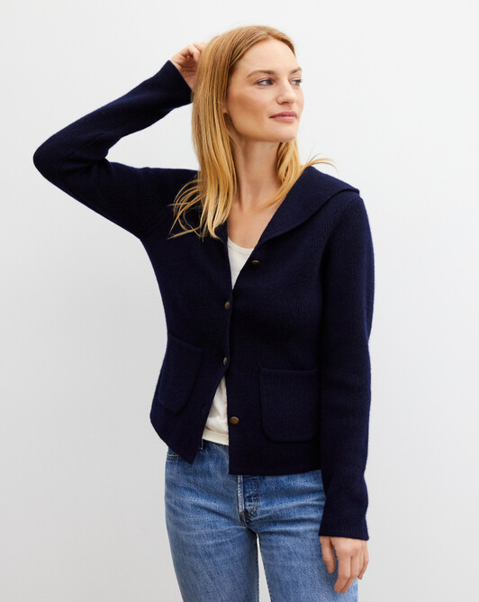 Open-neck jacket with pockets - Navy blue
