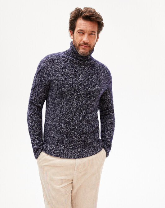 Iconic cable stitch roll-neck sweater - Marled navy blue