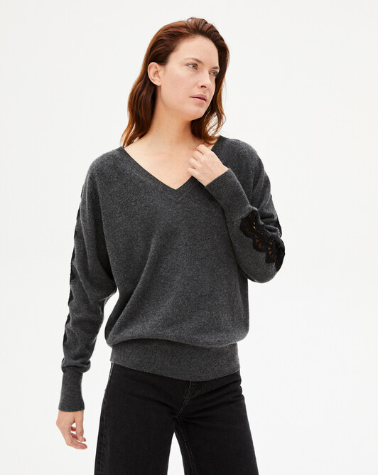 V-neck sweater with encrusted lace band - Charcoal grey