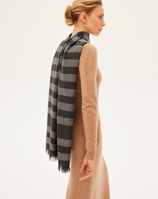 Two-coloured scarf - Charcoal grey/flannel grey