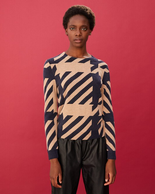 Tailored print crew neck pullover - Camel/navy blue