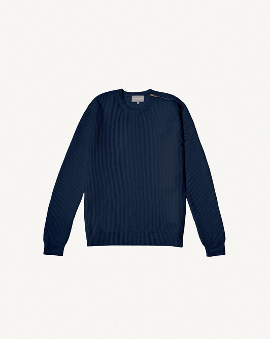 Ribbed crew neck sweater - Navy blue