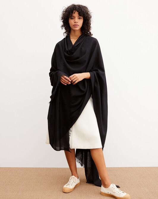 Giant cashmere voile stole 250 cm x 120 cm - Black