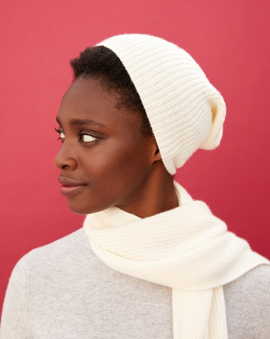 Half cardigan rib hat - Autumn white