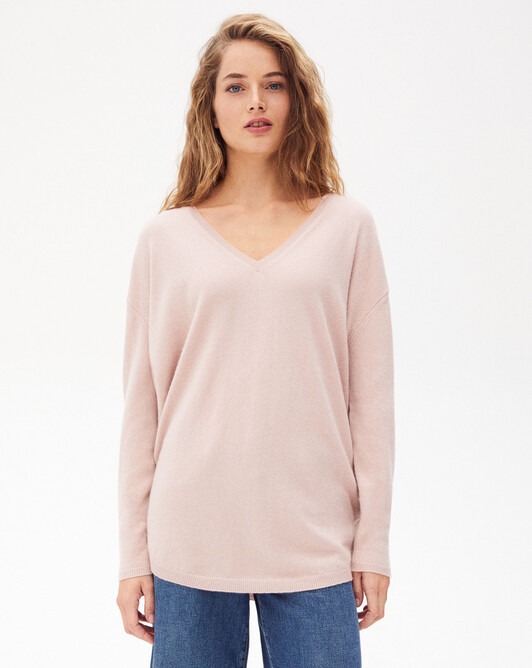 Maxi V-neck sweater - Petal