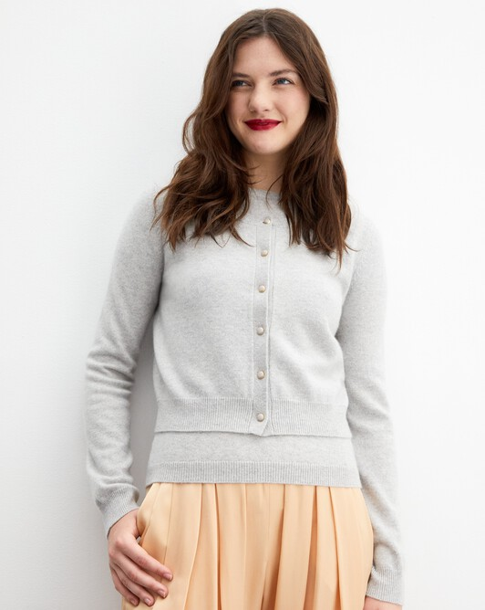Gold-button cardigan - Frost grey