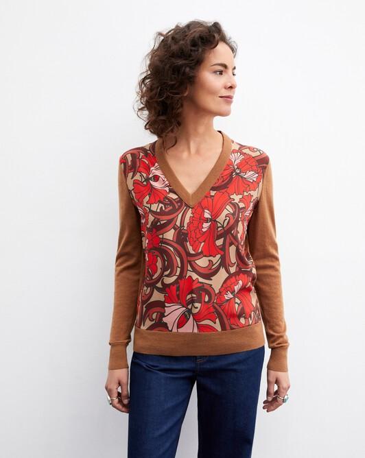 Petunia twill-knit v-neck pullover - Camel
