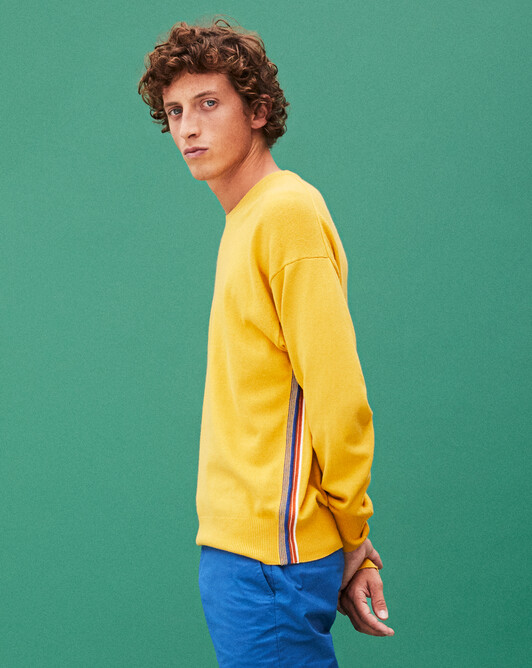Multicoloured stripe side crew-neck sweater - Galileo