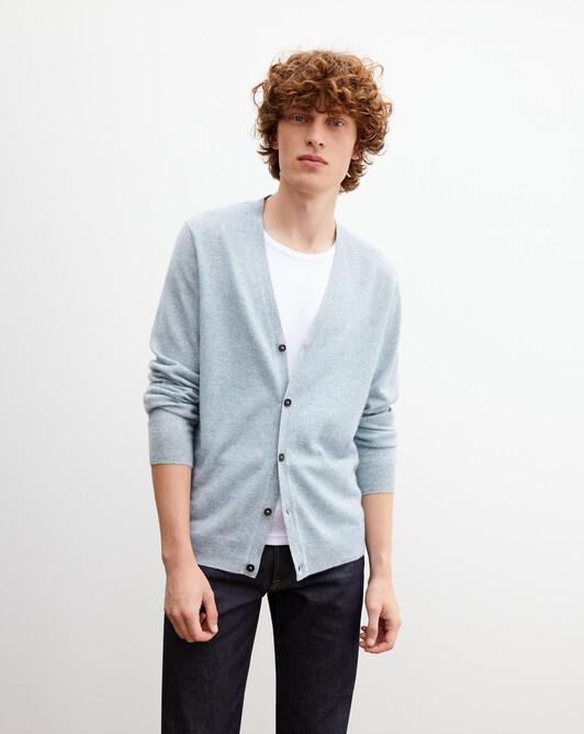 Cashmere/linen cardigan - Denim blue