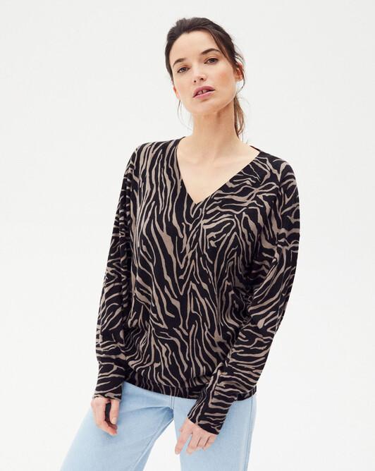 Pull V imprimé zebra - Coriandre/noir
