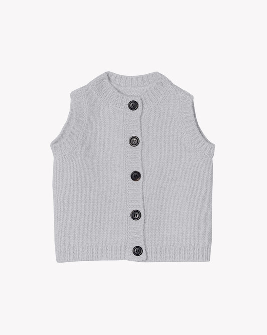Sleeveless cardigan - Frost grey