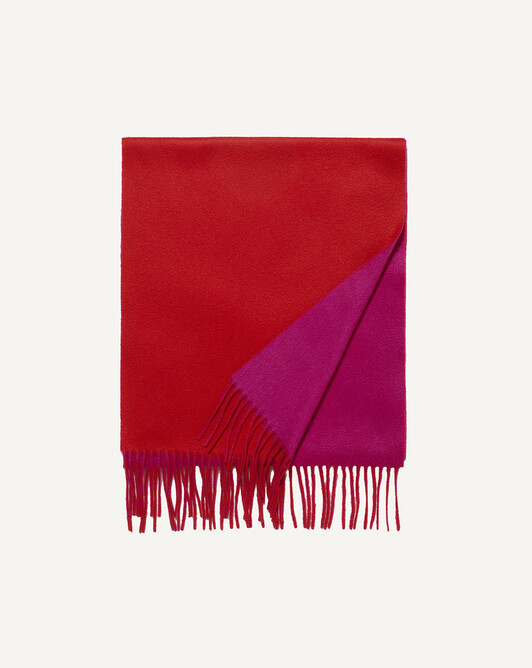 Two colour scarf 175 x 35 cm - Fushia/ruby red