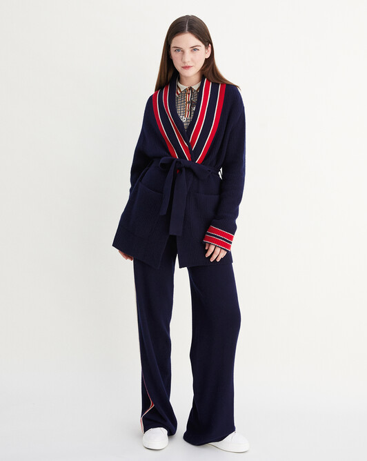 Ribbed indoor jacket with stripes - Navy blue