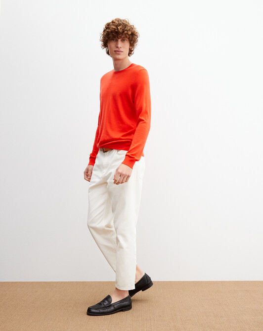 Contemporary extrafine crew neck pullover - Tan orange
