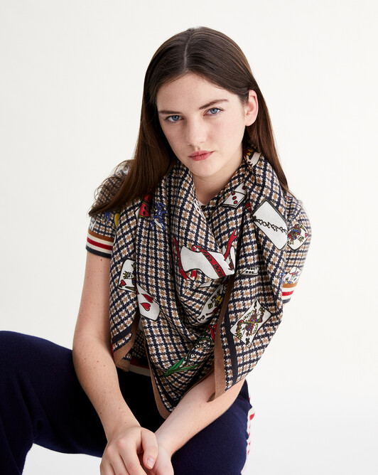 Houndstooth and game print square scarf 120 cm x 120 cm - Tobacco