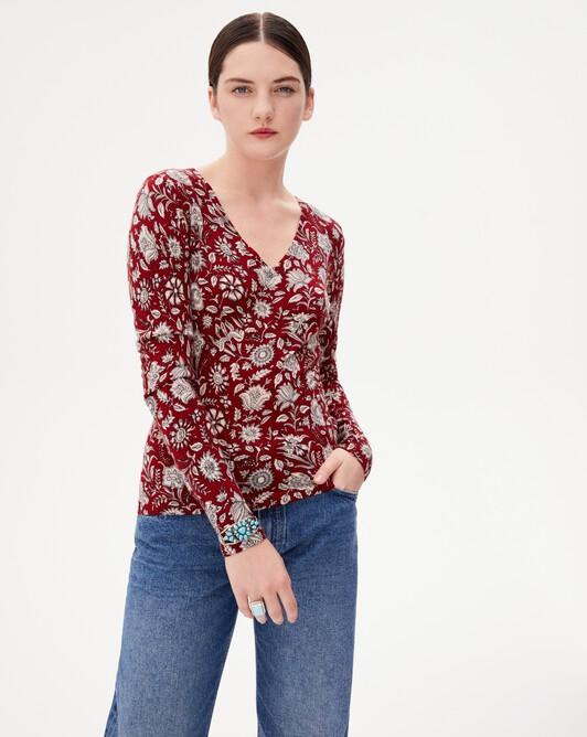 Andes print V-neck pullover - Siam