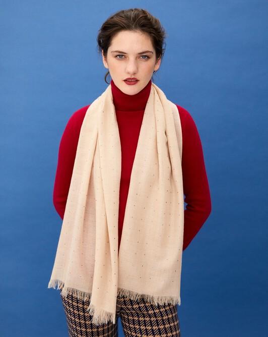 Cashmere voile scarf  with cristals 150 cm x 50 cm - Nougat