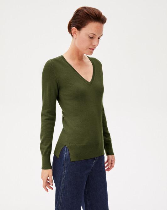 Fitted V-neck pullover - Kale
