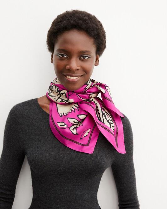 Maxi andes print silk square scarf 90 cm x 90 cm - Fushia