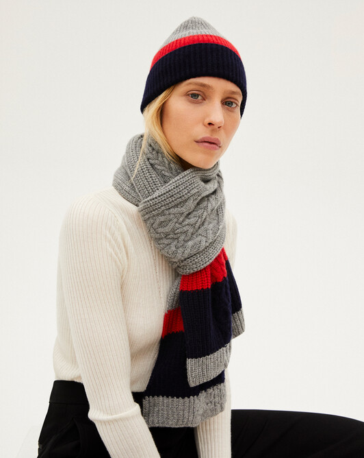 Applied cable stitch stripes and rib scarf - Flannel grey