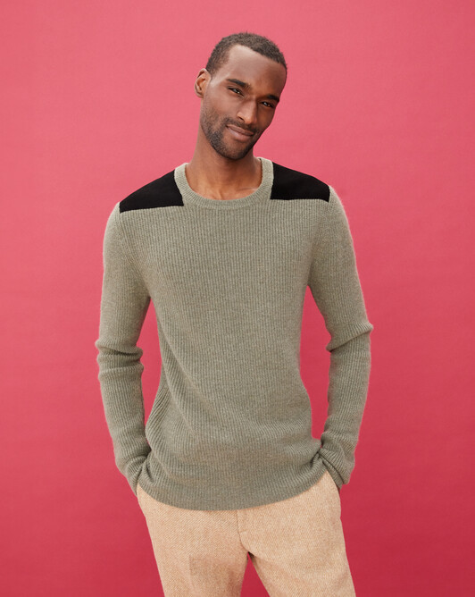 Ribbed crew neck pullover with suede patches - Khaki