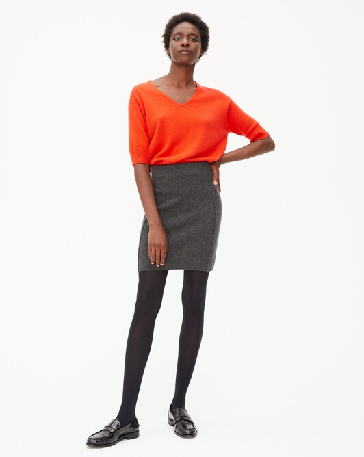 Cashmere milano short skirt - Charcoal grey