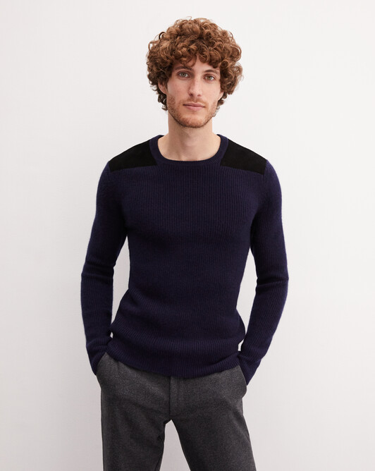 Ribbed crew neck pullover with suede patches - Navy blue
