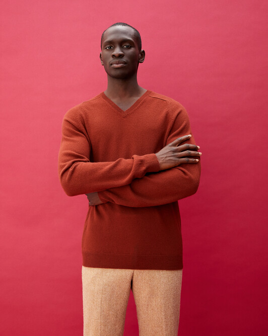 Fitted V-neck pullover with offset shoulders - Chestnut