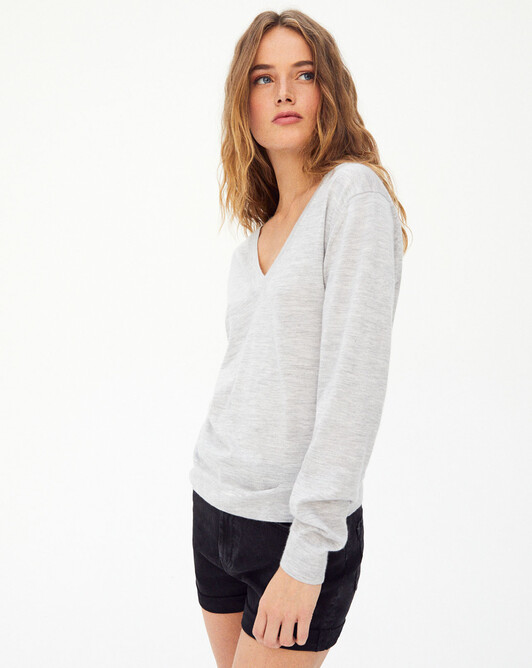 Contemporary extrafine v-neck sweater - Frost grey