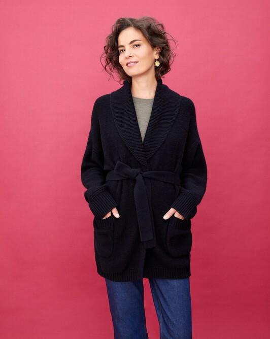 Alpaca/cashmere shawl collar jacket - Black