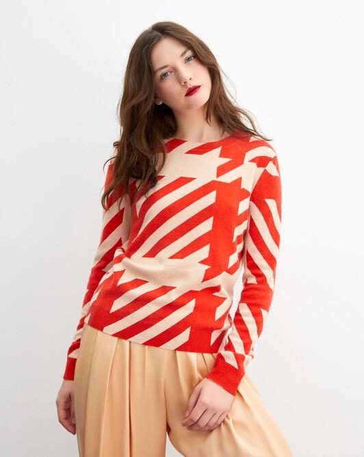 Tailored print crew neck pullover - Sepia beige/lipstick